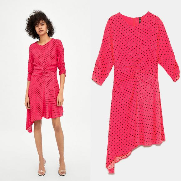 832bc19c Zara Dresses | Nwt Ss18 Pink Ruched Polka Dots Dress | Poshmark